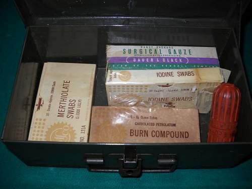 U.S. medical tin box with meds.