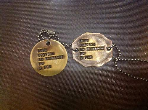 Help with current Australian army dog tags please