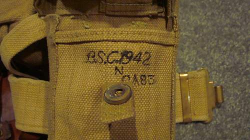 Click image for larger version.  Name:13 Right Basic Pouch marked 'B.S.C. 1942 N'.jpg Views:130 Size:227.7 KB ID:657374