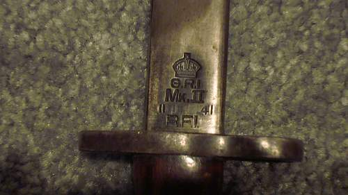 Click image for larger version.  Name:18 Bayonet Ricasso marked 'G.R.I.', 'Mk. II', '11 41' and 'R.F.I.'.jpg Views:369 Size:226.1 KB ID:657379