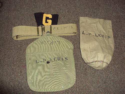 Ww2 british field gear lot  named??? & arm band ??