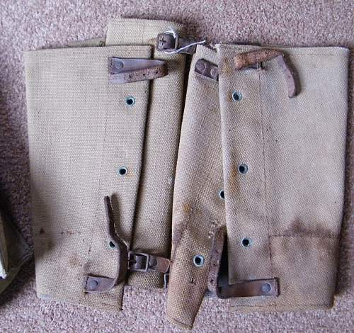 Gaiters and gas mask bag