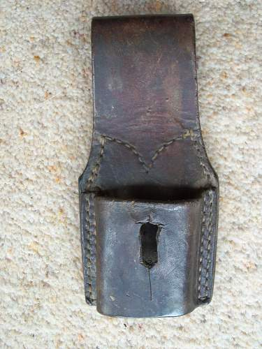 short leather 1944 dated British bayonet frog - id please