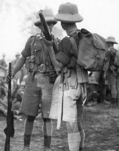 Click image for larger version.  Name:Column on Route to Razmak. 1st Battalion Northamptonshire Regiment, India, circa 1932-38.png Views:106 Size:319.3 KB ID:928393