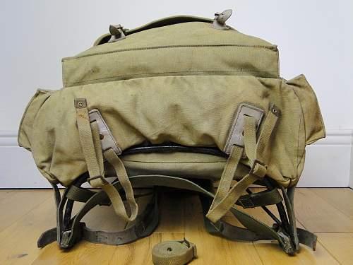 Khaki two tone canvas rucksack - External A-frame. British / German?