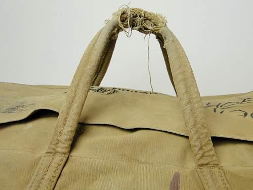 Naval canvas kit bag / duffle . Issued. Newey snaps Pat. 20143-22