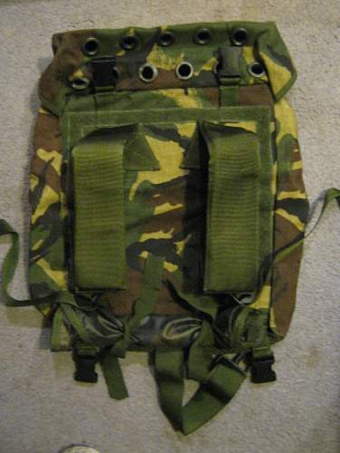 Unusual British ? canvas rucksack / sac with rope & webbing. Inc stamp code. WW2?