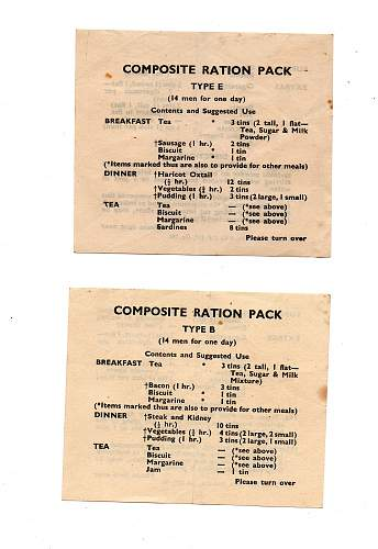 British Compo Menu Sheets Original from 1942 and 1943