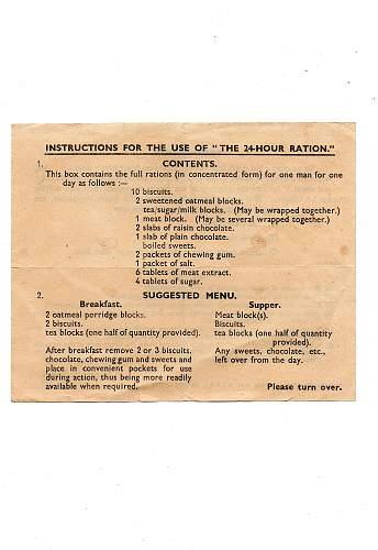 Original 24 hour Ration Instruction and Contents  Leaflet