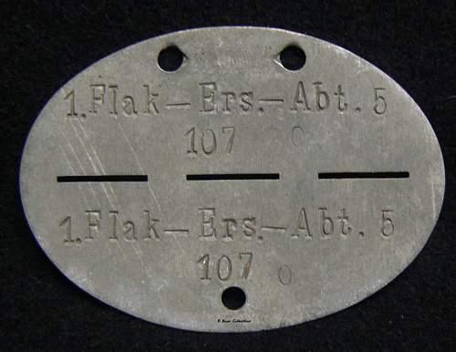 My new Flak Erkennungsmarke, 1 Flak-Ers.-Abt. 5