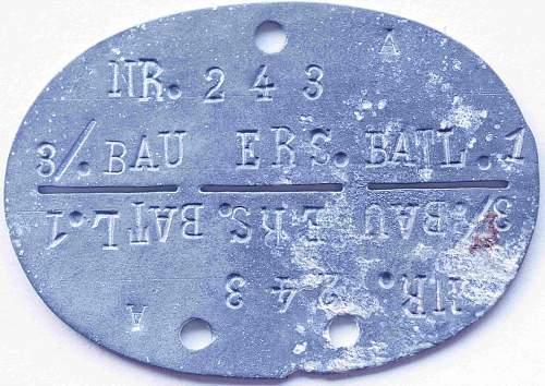 Erkennungsmarke Bau-Ersatz-Bataillon 1