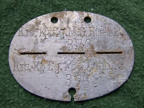 Erkennungsmarken, Infanterie, Pionier, MG, all from the eastern front.