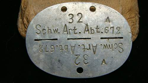 Schw.Art.Abt.672 (?) erkennungsmarke