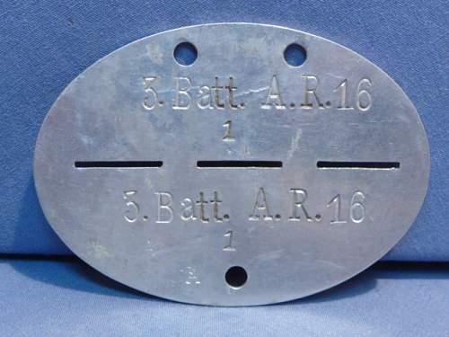Artillerie Regiment 16 - erkennungsmarke