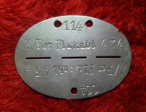Reserve-Flak-Abteilung 434 erkennungsmarke