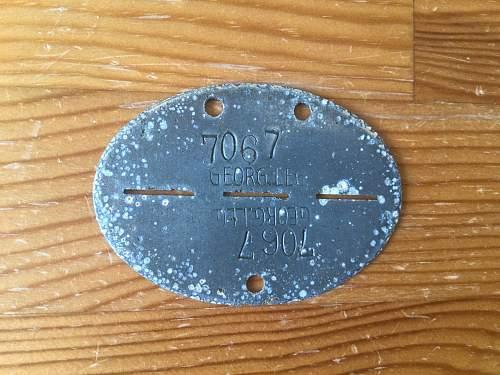 Erkennungsmarke Georgische Legion number ID