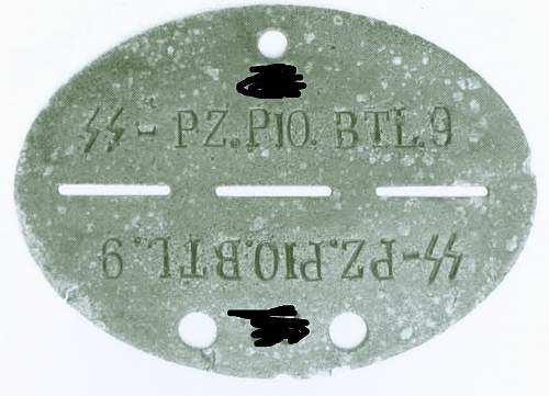 Erkennungsmarke SS-PZ.PIO.BTL.9  (Panzer Pionier Bataillon - Hohenstaufen)