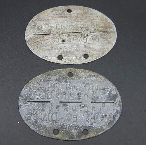 German WWII Panzer ID Tags