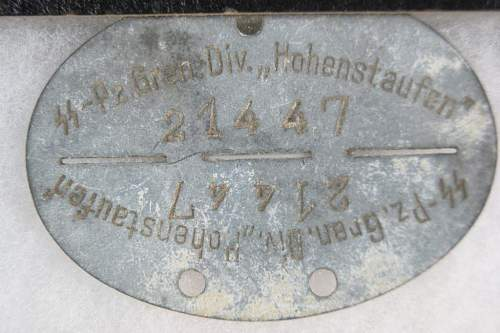 Click image for larger version.  Name:SS Dogtag that reads SS-Pz. Gpen. Div. Hohenstaufen 21447.jpg Views:808 Size:90.7 KB ID:255681
