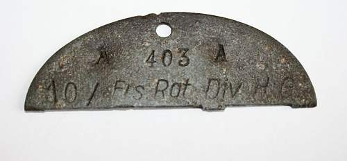 "Dog tag from ""Hermann Goering"" Division"