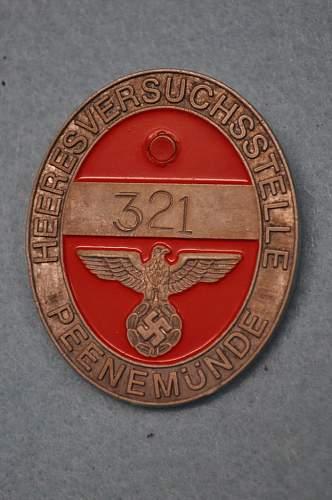 Peenemunde rocket base worker badge id