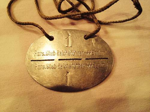 SS dog tag - trying to determine if it's real or fake - looking for some help