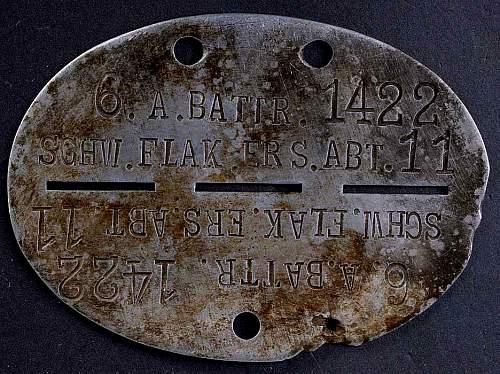 Luftwaffe Heavy Flak dog tag