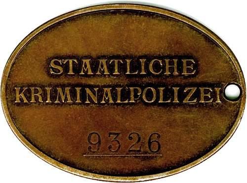 Staatliche Kriminalpolize warrant disc: Real or Fake?????