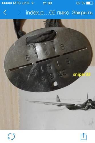 Luftwaffe Ju88 pilot dog tag