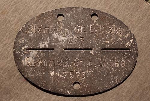 ID TAG - Stamm-Kompanie-Grenadier-Ersatz-Bataillon 368 - Turkestan.