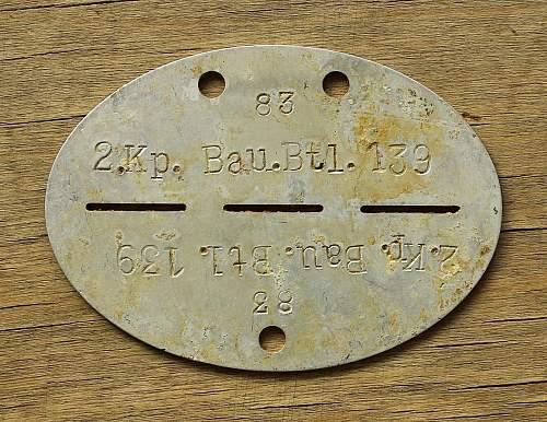 Battle of Liepāja - 2 Kompanie; 139th Battalion Erkennungsmarke; Battle of Saldus, Latvia 1944 - 2.Kp.Bau.Btl.139