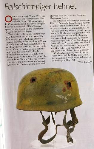 A battle damaged tan cammo Ramcke Brigade Para helmet
