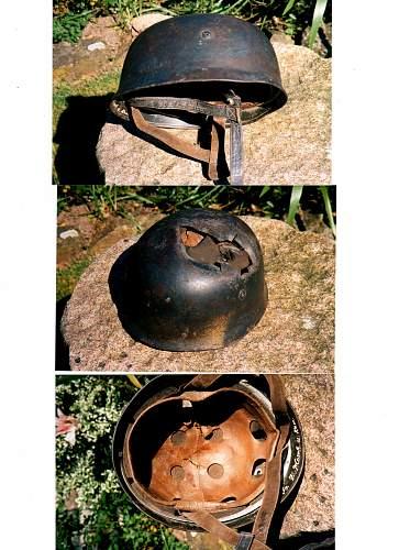 Battle damaged Normandie Fallschirmjager helmet.