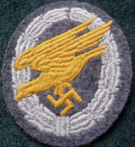Luftwaffe Fallschirmjager Cloth Badge