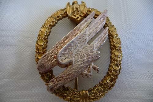 c. 1936  Early Fallschirmscutzen / Fallschirmjager / Aluminum Paratrooper Badge -- Any Comments  Appreciated