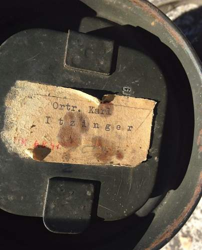 Gas mask canister's named label