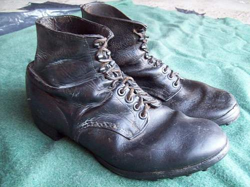 German combat low boots with hobnails