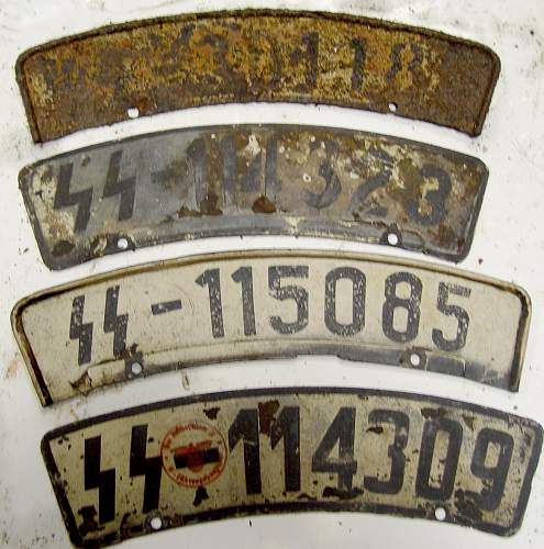 Waffen SS motorcycle license plate for viewing.