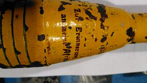 Mortar shell hand painted