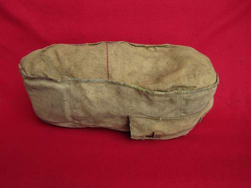 Mysterious late war cloth cover-pouch with red strip for ?? Help with identification
