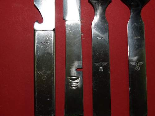 Knife, fork, spoon set in can opener type holder