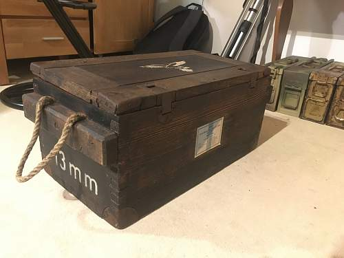 Two 13mm MG131 ammo boxes