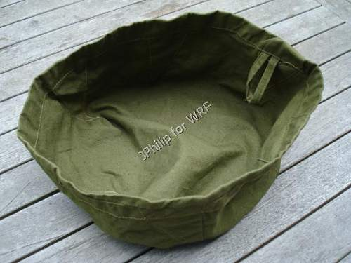 DAK tropical canvas washbowl.  Rarely seen item, in used condition