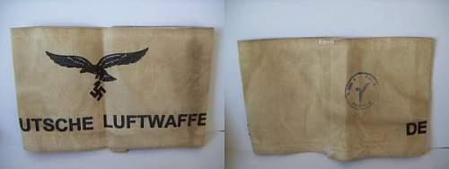 I need help/ more info on this Deutsche Luftwaffe White Armbind