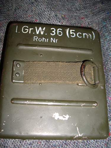 8cm mortar belt worn spares kit from Jersey, Channel Islands.