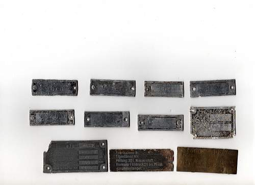 A selection of German data plates from the German tunnels in Jersey, Channel Islands.
