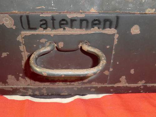 Karbid lamp and spares box with most contents from Jersey, Channel Islands.