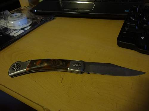 Large German pocket knife with swastikas