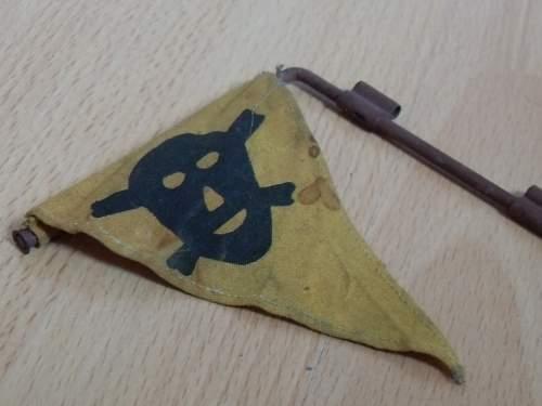 German skull and crossbones on a pennant