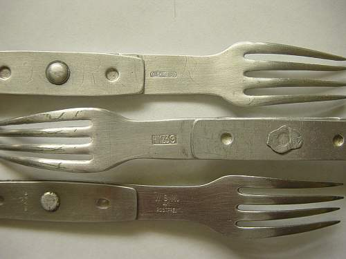 Collection of Wehrmacht folding fork-spoons